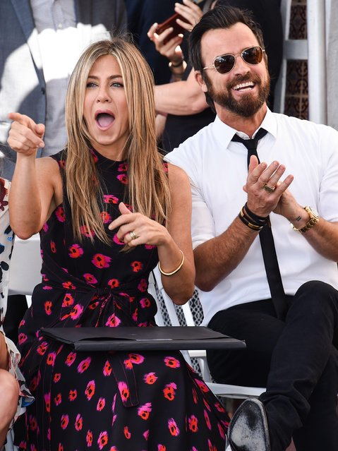 "Jennifer Aniston and Justin Theroux attend the ceremony honoring Jason Bateman with ""Star On The Hollywood Walk Of Fame"" in Hollywood, California on July 26, 2017. (Photo by Splash News and Pictures<)"
