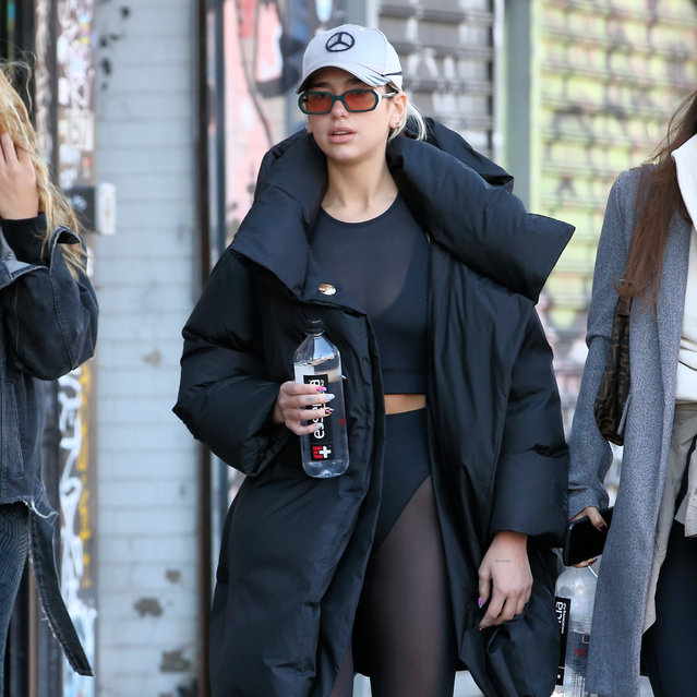 Singer Dua Lipa walks to Hot Yoga in see-through tights in New York City on February 19, 2020. (Photo by Christopher Peterson/Splash News and Pictures)