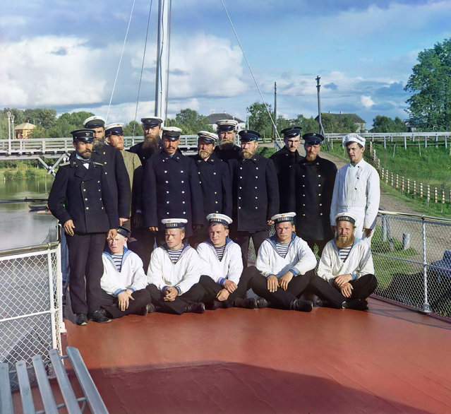 Photos by Sergey Prokudin-Gorsky. Crew of the steamship 'Sheksna' of the M.P.S. (Ministry of Communication and Transportation). Russian Empire, Olonets province, Vytegra county, Vytegra, 1909