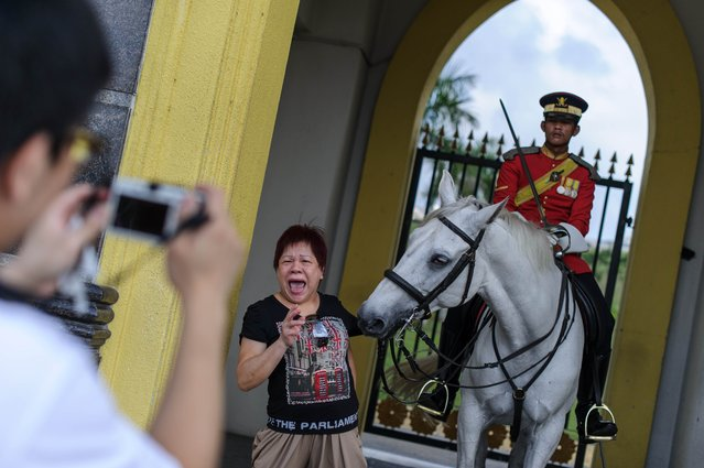 A tourist (C) poses for pictures as she reacts after getting biten by a royal horse guard at the National Palace in Kuala Lumpur on August 14, 2014. Malaysia is a constitutional monarchy with an elected monarch as head of state every five years. (Photo by Mohd Rasfan/AFP Photo)