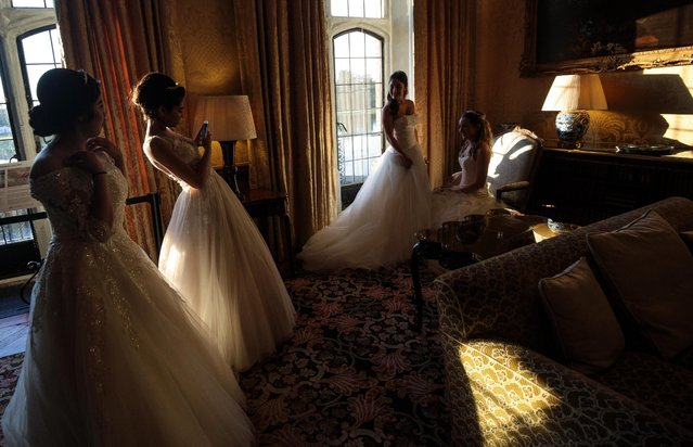 Debutantes take pictures at Leeds Castle during the Queen Charlotte's Ball on September 9, 2017 in Maidstone, England. (Photo by Jack Taylor/Getty Images)