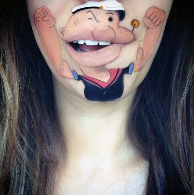 Makeup artist Laura Jenkinson paints popular cartoon characters on her face, using her own mouth as the teeth and lips of her subjects. Here, Popeye is depicted on Jenkinson. (Photo by Laura Jenkinson/Caters News)