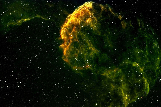 Jelly Fish Nebula. These amazing pictures of nebula thousands of light years from Earth have been captured by an amateur astronomer Dr. Dennis Roscoe snapped the beautiful celestial formations from his own personal observatory. His telescope looks into deep space at the nebula, which show both the birth and death of stars, like our very own Sun. (Photo by Dennis Roscoe/Caters News)