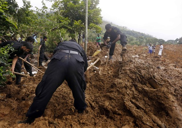 Rescue workers conduct a search at the site of a landslide at the Koslanda tea plantation near Haldummulla October 30, 2014. (Photo by Dinuka Liyanawatte/Reuters)