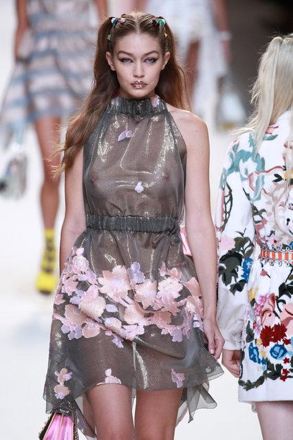 Gigi Hadid walks the runway at the Fendi show during Milan Fashion Week Spring/Summer 2017 on September 22, 2016 in Milan, Italy. (Photo by Antonio de Moraes Barros Filho/WireImage)