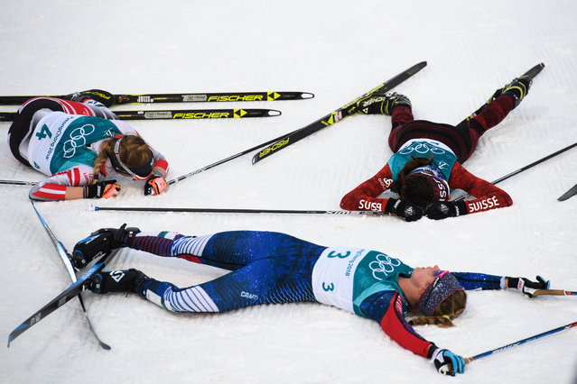 Nathalie von Siebenthal of Switzerland (top right), Jessica Diggins (bottom) of the US and Teresa Stadlober of Austria after the Women's Cross Country 7,5 km + 7,5 km Skiathlon race at the Alpensia Cross Country Centre during the PyeongChang 2018 Olympic Games, South Korea, 10 February 2018. (Photo by Gian Ehrenzeller/EPA/EFE)