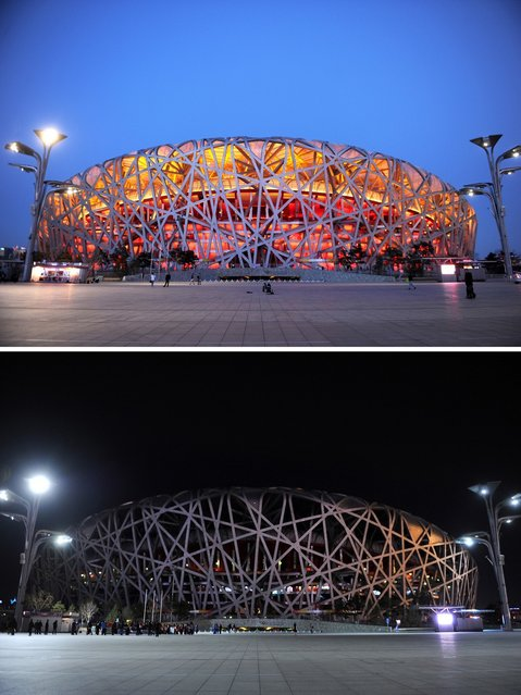 This combo of pictures shows the National Stadium, known as the Bird's Nest with the lights on (top) and with the lights off (bottom) during the annual Earth Hour event in Beijing on March 23, 2013. Millions of people were expected to switch off their lights for Earth Hour on March 23 in a global effort to raise awareness about climate change that was even to be monitored from space. (Photo by Wang Zhao/AFP Photo)