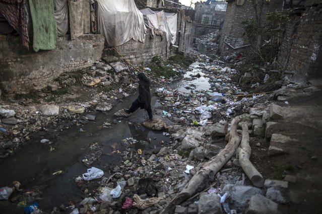 A woman crosses an open sewer as she makes her way to her house in a Christian slum in Islamabad December 4, 2014. (Photo by Zohra Bensemra/Reuters)
