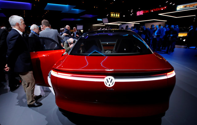 The I.D. Vizzion car model from Volkswagen is presented during the press day at the 88th Geneva International Motor Show in Geneva, Switzerland on Tuesday, March 6, 2018. (Photo by Denis Balibouse/Reuters)