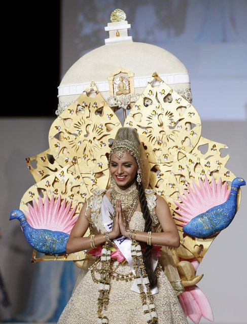 Supriya Aiman representing India poses in a national dress during the 55th Miss International Beauty Pageant in Tokyo, Japan, November 5, 2015. (Photo by Toru Hanai/Reuters)