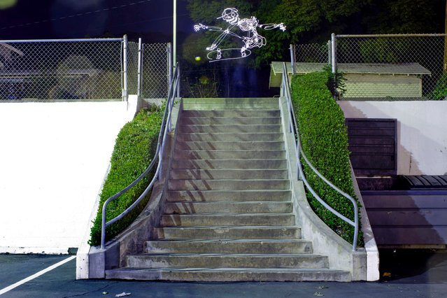 A light skateboarder jumping a set of stairs. (Photo by Darren Pearson/Caters News)