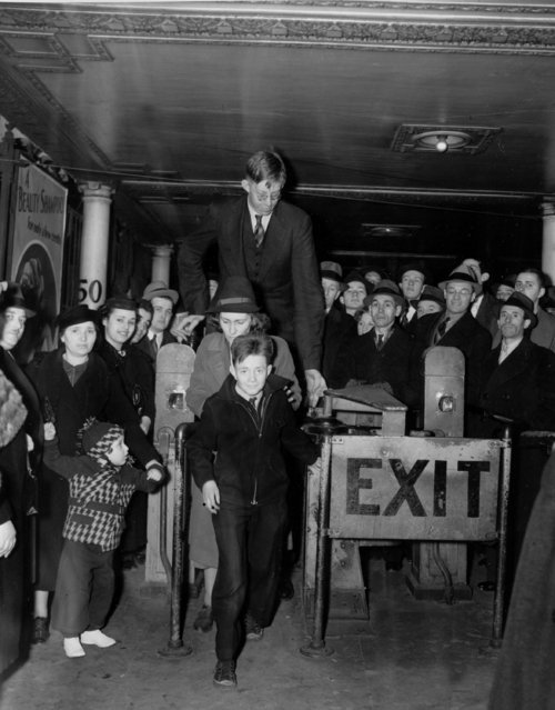Robert Wadlow, 18, of Alton, Ill., enters a turnstile at a New York City subway station, April 7, 1937. (Photo by AP Photo)