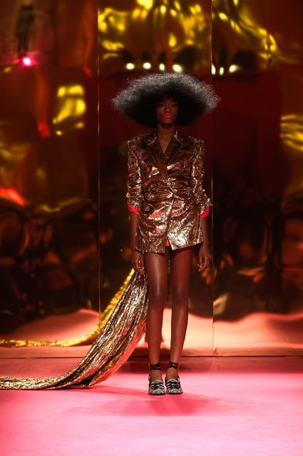 A model walks the runway during the Schiaparelli show as part of Paris Fashion Week Haute Couture Spring/Summer 2015 on January 26, 2015 in Paris, France. (Photo by Pascal Le Segretain/Getty Images)