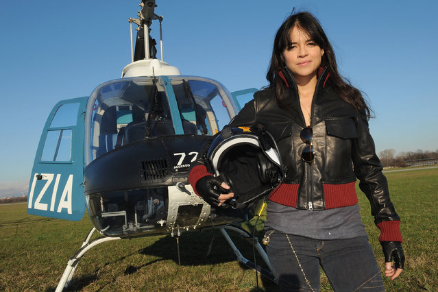 Actress Michelle Rodriguez poses for a portrait session for the Belstaff and Polizia di Stato Collection presentation on February 26, 2010 in Milan, Italy. (Photo by Tullio M. Puglia/WireImage)