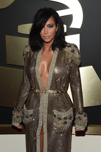 TV Personality Kim Kardashian attends The 57th Annual GRAMMY Awards at the STAPLES Center on February 8, 2015 in Los Angeles, California. (Photo by Larry Busacca/Getty Images for NARAS)