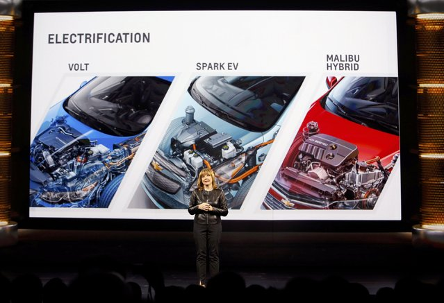 General Motors Chairman and CEO Mary Barra speaks during a keynote address at the 2016 CES trade show in Las Vegas, Nevada January 6, 2016. (Photo by Steve Marcus/Reuters)
