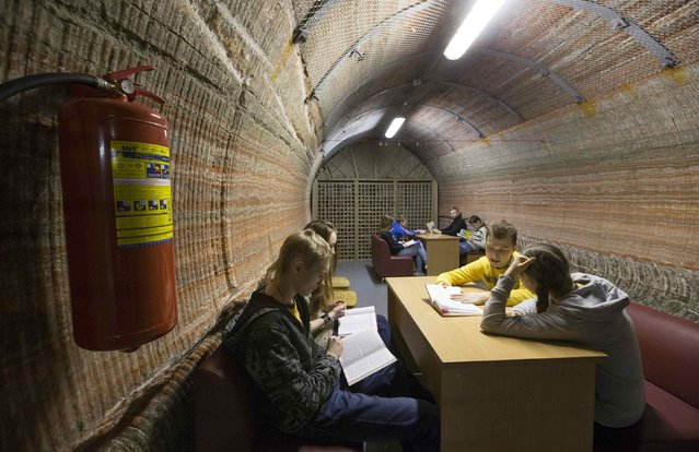 Youths spend time in the facilities of Belarus' Republican Clinic of Speleotherapy within a salt mine, as part of their treatment, near the town of Soligorsk, south of Minsk, February 19, 2015. (Photo by Vasily Fedosenko/Reuters)
