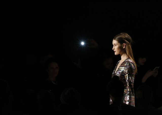 A model presents a creation during the iiJin Fall/Winter 2015 collection show at New York Fashion Week, February 18, 2015. (Photo by Shannon Stapleton/Reuters)