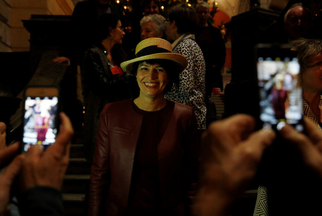 New elected Swiss President for 2017, Swiss Energy Minister Doris Leuthard, poses for pictures during the winter parliament session in Bern, Switzerland December 7, 2016. (Photo by Ruben Sprich/Reuters)