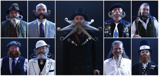 A combination photo shows participants taking part in the Beard World Championship 2013 in Leinfelden-Echterdingen near Stuttgart November 2, 2013. More than 300 people from around the world compete in different moustache and beard categories. Top row (L-R): Norbert Topf from Austria, Michael Johnson of the U.S., Armin Bielefeldt of the U.S., Franz Mitterhauser from Austria and Charlie Savill from Britain. Bottom row (L-R): Eric Jansson of the U.S., Gerhard Knapp of Germany, Frazer Coppin of Britain and Jeffrey Moustache of the U.S. (Photo by Michaela Rehle/Reuters)