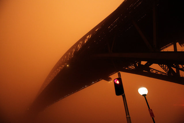 A traffic light shows red as a dust storm blankets the Sydney Harbour Bridge at sunrise September 23, 2009. (Photo by Tim Wimborne/Reuters)