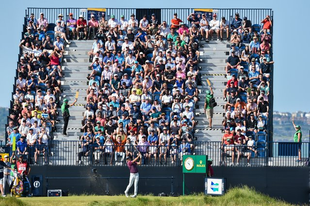 The US golfer Jordan Spieth tees off on the 6th hole at the British Open golf tournament at Royal St George's in Kent, United Kingdom on July 17, 2021. (Photo by Greig Cowie/Rex Features/Shutterstock)