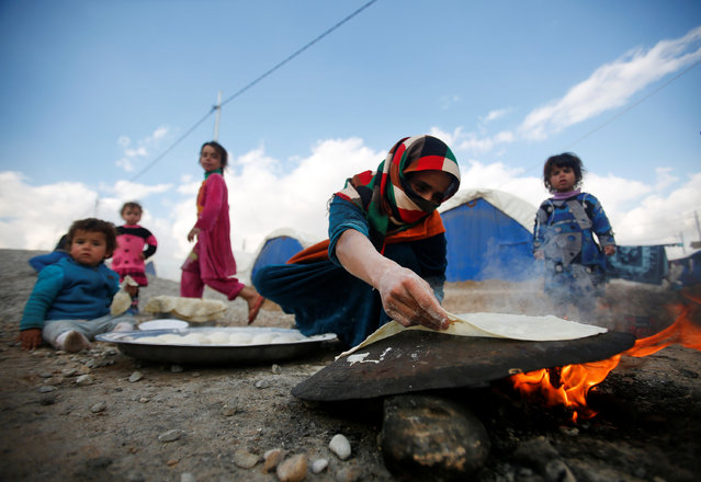 A displaced Iraqi women, who fled the Islamic State stronghold of Mosul, makes bread at Khazer camp, Iraq, January 4, 2017. (Photo by Khalid al Mousily/Reuters)