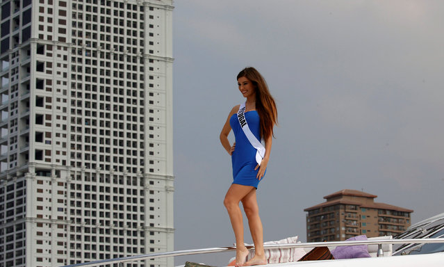 Miss Universe candidate Flavia Brito from Portugal poses while onboard a yacht before going to a beach resort in Manila, Philippines January 19, 2017. (Photo by Erik De Castro/Reuters)