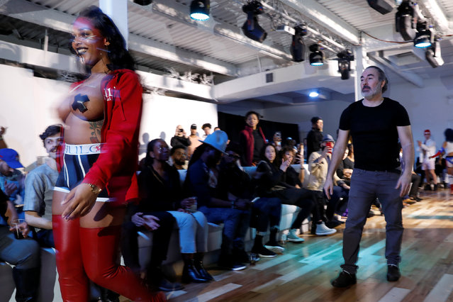 Transgender actress Aubrey Banks presents a creation from the CHULO underwear collection ahead of CHULO founder and lead designer Ricardo Muniz during the New York Fashion Week, in a show that raised money for transgender and cisgender young women victims of violence, in New York, U.S. February 7, 2019. (Photo by Andrew Kelly/Reuters)