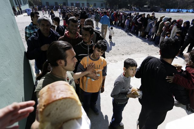 Migrants, mostly from Afghanistan,  queue to receive food distributed by Greek army at a transit camp in the western Athens' suburb of Schisto, Thursday, February 25, 2016. Balkan border controls leave thousands people stranded in Greece as the country scrambles to cope with border restrictions imposed recently by Austria and Balkan countries, while some 4,000 migrants and refugees continue to arrive on Greek territory daily. (Photo by Thanassis Stavrakis/AP Photo)