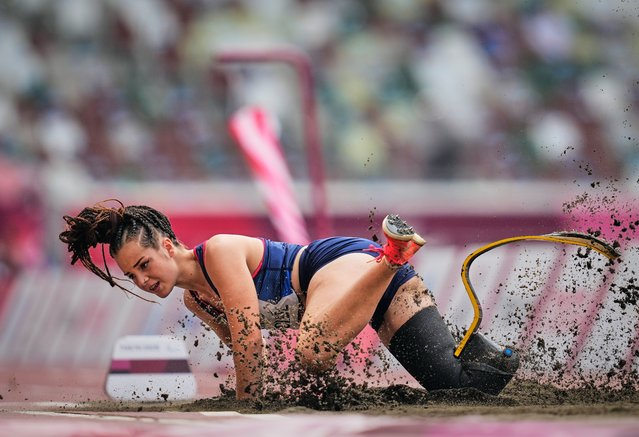 France's Typhaine Solde competes in the women's long jump - T64 finals of the Tokyo 2020 Paralympic Games at the Olympic Stadium in Tokyo on August 28, 2021. (Photo by Kim Price/CSM/Rex Features/Shutterstock)