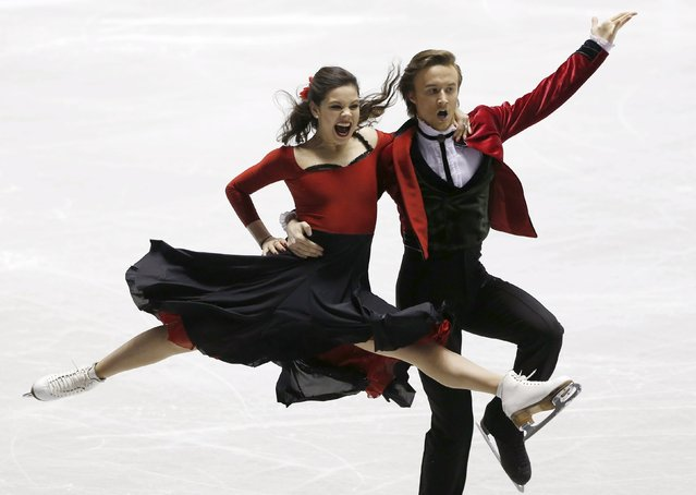 Elena Ilinykh and Ruslan Zhiganshin of Russia compete during the ice dance short dance program at the ISU World Team Trophy in Figure Skating in Tokyo April 16, 2015. (Photo by Yuya Shino/Reuters)