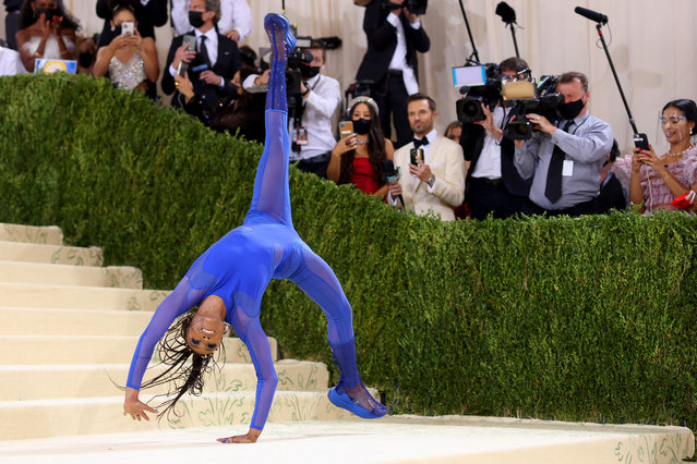 American gymnast Nia Dennis attends The 2021 Met Gala Celebrating In America: A Lexicon Of Fashion at Metropolitan Museum of Art on September 13, 2021 in New York City. (Photo by John Shearer/WireImage)