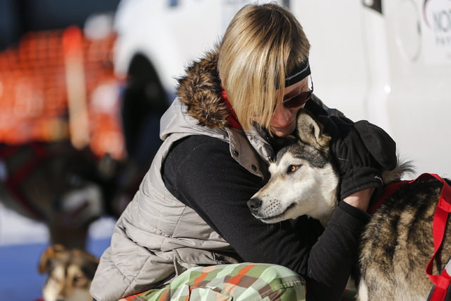 Kat Berington visits her sister's dog team before the restart of the Iditarod Trail Sled Dog Race in Willow, Alaska March 6, 2016. (Photo by Nathaniel Wilder/Reuters)