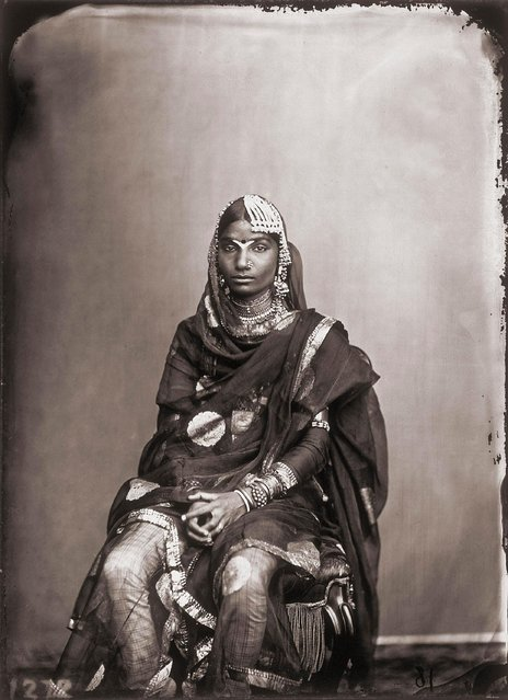 Portrait of a woman in the harem of the royal palace of Jaipur, India, 1857 – 1865. (Photo by Maharaja Ram Singh III/Alinari via Getty Images)