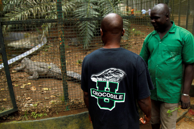 Workers stand next to the enclosure of a West African Slender-snouted Crocodile at the zoo of Abidjan, Ivory Coast September 9, 2016. (Photo by Luc Gnago/Reuters)