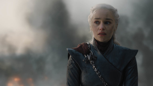 "This image released by HBO shows Emilia Clarke in a scene from ""Game of Thrones"", that aired Sunday, May 12, 2019. Daenerys has reduced King's Landing to ashes in a dramatic, heart-stopping episode of Game of Thrones, but don't count the city out. Despite the horrifying death and destruction, the city is likely to rebound, over time, and will probably reclaim its glory as the wealthy capital of Westeros. (Photo by HBO via AP Photo)"