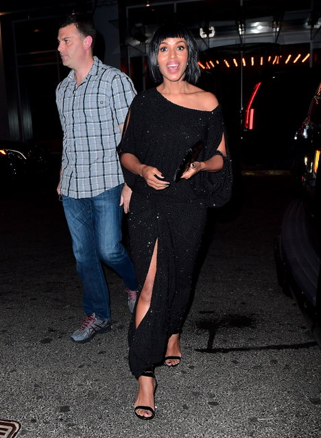 Kerry Washington and Husband Nnamdi Asomugha were All Smiles as they arrived to Rihanna's Met Gala After Party at 1Oak on May 1, 2017. They wore matching black on black outfits for their second look of the night. (Photo by 247PAPS.TV/Splash News and Pictures)