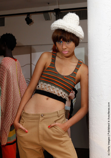 A model  poses at the Degen Fall 2012 presentation during Mercedes-Benz Fashion Week