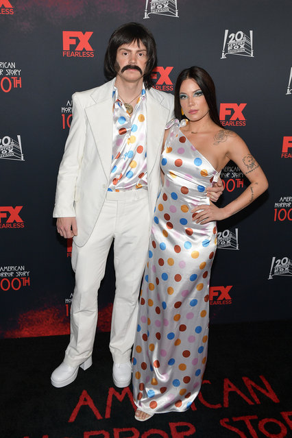 """(L-R) Evan Peters and Halsey attend FX's """"American Horror Story"""" 100th Episode Celebration at Hollywood Forever on October 26, 2019 in Hollywood, California. (Photo by Matt Winkelmeyer/Getty Images)"""