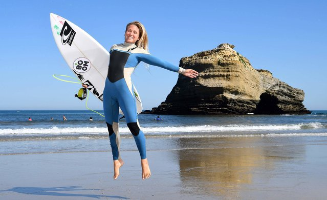 Italy's surf-pro Valentina Vitale poses on May 25, 2017 in Biarritz, southwestern France, during the 2017 ISA World Surfing Games. The event, gathering athletes from over 40 countries, takes place until May 28. (Photo by Franck Fife/AFP Photo)