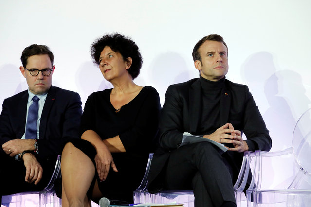 French President Emmanuel Macron and French Minister of Higher Education, Research and Innovation Frederique Vidal attend the ceremony marking the 80th anniversary of the French National Centre for Scientific Research (CNRS) at the Palais de la Decouverte in Paris, France, November 26, 2019. (Photo by Benoit Tessier/Reuters/Pool)