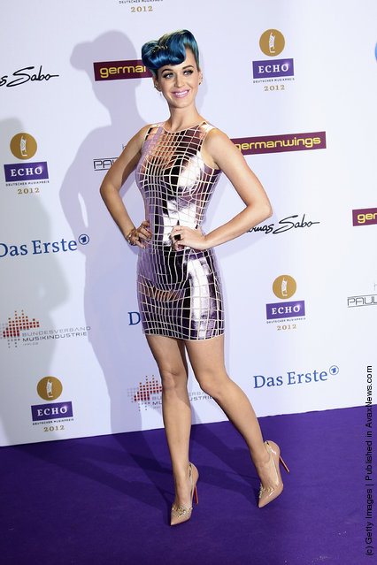Singer Katy Perry arrives for the Echo Awards 2012 at Palais am Funkturm on March 22, 2012 in Berlin