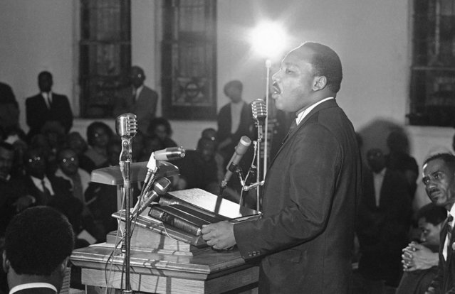 Civil rights leader Dr. Martin Luther King, Jr., speaks in Alabama, February 1968. (Photo by Charles Kelly/AP Photo)