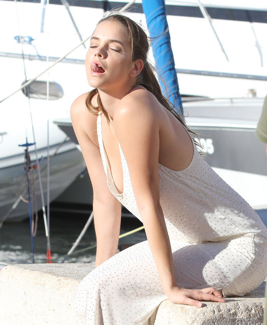 Hungarian model Barbara Palvin is seen on a photo shoot in St Tropez port, France on July 26, 2017. (Photo by Neil Warner/Sirc/Splash News and Pictures)
