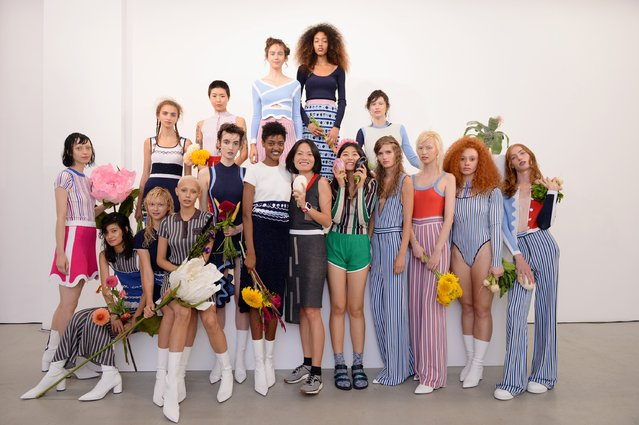 Models pose during the PH5 Presentation at New York Fashion Week on September 6, 2017 in New York City. (Photo by Andrew Toth/Getty Images for PH5)
