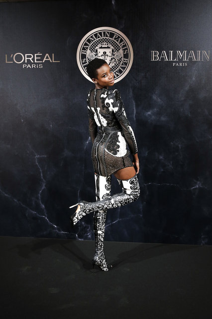 Model Maria Borges poses during a photocall for the L'Oreal Balmain party during the ready-to-wear fashion week in Paris, France, Thursday, September 28, 2017. (Photo by Kamil Zihnioglu/AP Photo)