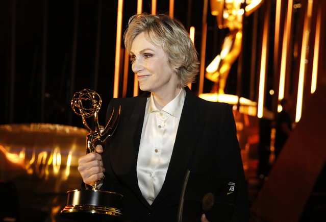Jane Lynch poses backstage at the Television Academy's Creative Arts Emmy Awards at Microsoft Theater on Saturday, September 12, 2015, in Los Angeles. (Photo by Colin Young-Wolff/Invision for the Television Academy/AP Images)