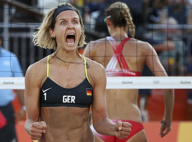 2016 Rio Olympics, Beach Volleyball, Women's Quarterfinal, Beach Volleyball Arena, Rio de Janeiro, Brazil on August 14, 2016. Laura Ludwig (GER) of Germany reacts. (Photo by Adrees Latif/Reuters)
