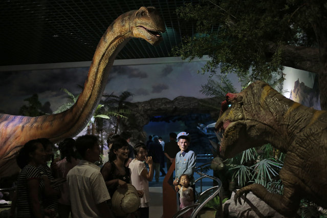 North Koreans look at models of dinosaurs at the Natural History Museum, part of the newly opened Pyongyang Central Zoo in Pyongyang, North Korea, Tuesday, August 23, 2016. (Photo by Dita Alangkara/AP Photo)